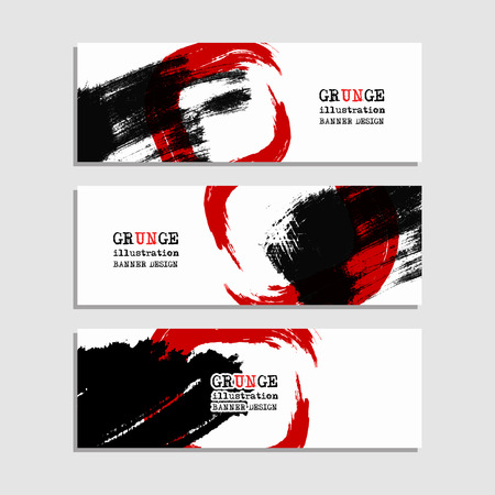 grunge banner: Black red abstract design. Ink paint on banner, Two color element isolated on white. Grunge banner paints. Simple composition. Liquid ink. Background for banner, card, poster, identity,web design. Illustration