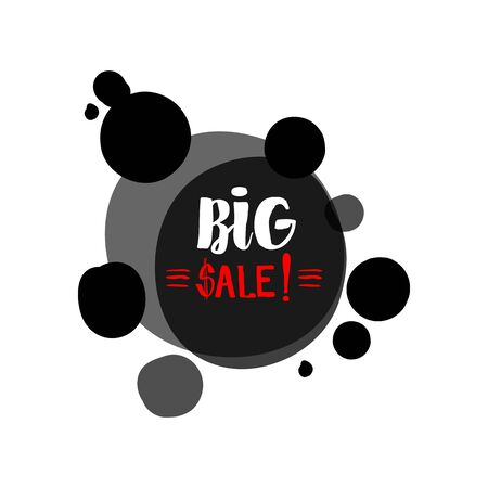 retail sales: Flat red and black circle design big sale stickers. Vector illustrations for online shopping, product promotions, website and mobile website badges, ads, print material. Illustration