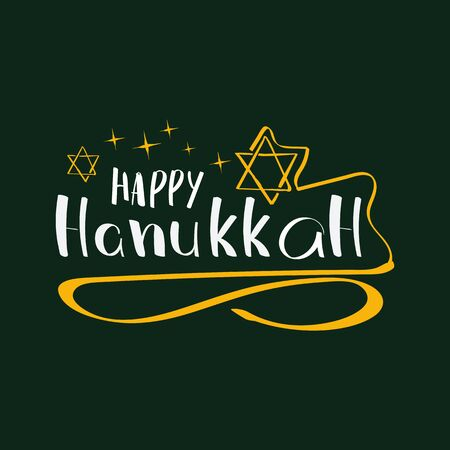 Vector Hanukkah background with lettering and symbol on green. Elegant greeting card. Celebration text design logo, typography. Usable as banner, greeting card, gift package etc. Illustration