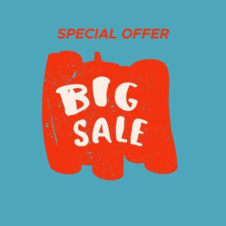 Grunge color design big sale stickers. Catching signage. Vector illustrations for online shopping, product promotions, website and mobile website badges, ads, print material. Illustration