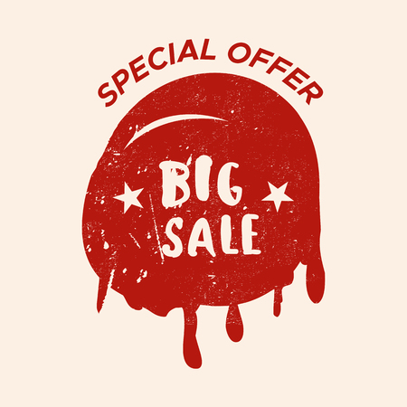 signage: Grunge color design big sale stickers. Catching signage. Vector illustrations for online shopping, product promotions, website and mobile website badges, ads, print material. Illustration