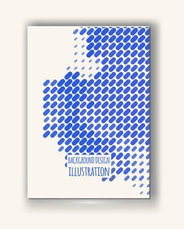 halftones: Halftones Banner. Blue color Brochure. Distress Dirty Damaged Spotted rectangle Overlay Dots Texture . Grunge Effect . Illustration