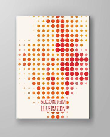 orange color: Halftones Banner. Orange color Brochure. Distress Dirty Damaged Spotted Circles Overlay Dots Texture . Grunge Effect .