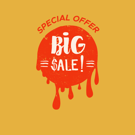 Grunge color design big sale stickers. Catching signage. Vector illustrations for online shopping, product promotions, website and mobile website badges, ads, print material. Illustration