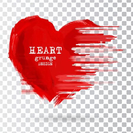 Diseño abstracto del corazón. elemento de sellos de grunge. Formas amor para su decoración aisladas sobre el fondo transparente. símbolos en dificultades. signos de los días con textura de San Valentín. Ilustración del vector. Ilustración de vector