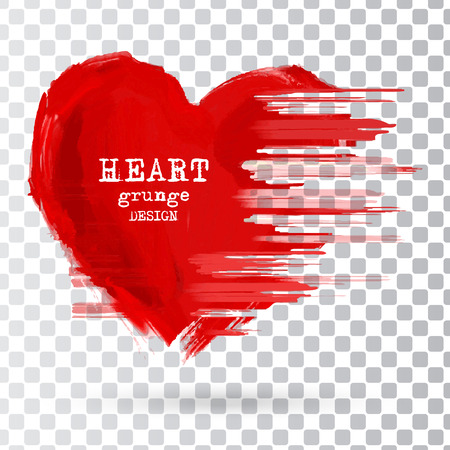 Abstract Heart design. Grunge stamps element. love Shapes for your decoration isolated on the transparent background. Distressed symbols. Textured Valentine's Day signs. Vector illustration. Vettoriali