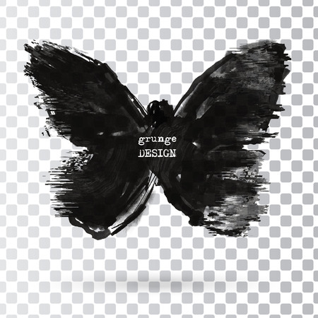 medical evaluation: Monochrome Silhouette of butterfly isolated on transparent background. Abstract grunge decoration. Vector illustration.