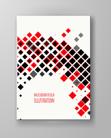 halftones: Halftones Banner. Orange color Brochure. Distress Dirty Damaged Spotted Square Overlay Dots Texture . Grunge Effect .