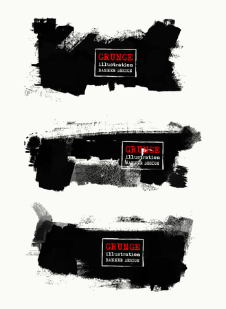 Vector set of black brush strokes. Grunge isolated elements. Smoke brushes for your design. Freehand. Ink splash. Acrylic stamp. Vector illustration Ilustração