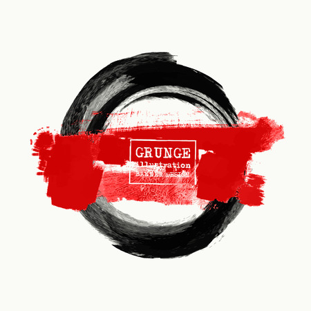 Black and red ink round stroke on white background. Japanese style. Vector illustration of grunge circle stains Illustration