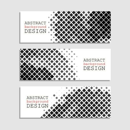 halftones: Halftones Banner. Monochrome Design element. Distress Dirty Damaged Spotted Square Overlay Dots Texture . Grunge Effect .