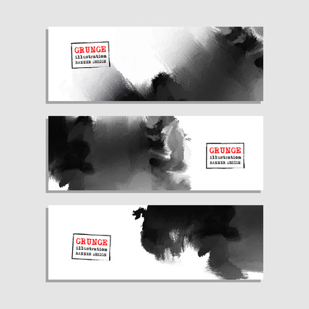 Monochrome art brush paint template. Original grunge art brush paint texture background acrylic stroke poster over frame vector illustration. Perfect watercolor design for headline, logo and banner. 矢量图像
