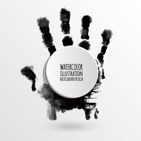 human hand: Vector ink paint human hand or handprint on white background for art