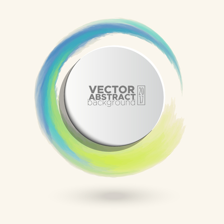 pastel colour: Brush color watercolor round stroke on pastel colour background. Vector illustration of grunge circle stains Illustration