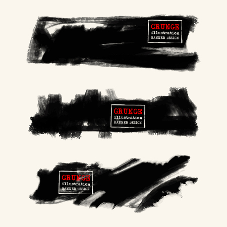 disheveled: Vector set of black brush strokes. Grunge isolated elements. Smoke brushes for your design