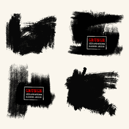 disheveled: Vector set of black brush strokes. Grunge isolated elements. Smoke brushes for your design. Freehand. Ink splash. Acrylic stamp. Vector illustration Illustration