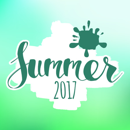 HI: lettering composition of Summer Vacation isolated on blur background.