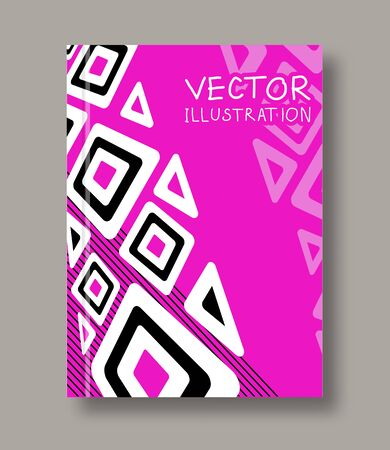 magazine design: Geometric ethnic abstract color flyer. Brochures unusual color shapes style. Design Painting elements. Line art. Wallpaper with empty space for your text. Vector illustration.