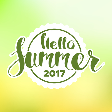 single word: lettering composition of Summer Vacation isolated on blur background.