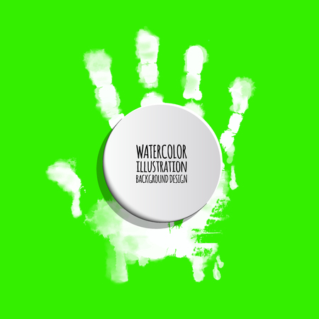 Vector ink paint human hand or handprint on color background. Painted hands, colorful fun. Creative, funny and artistic illustration.