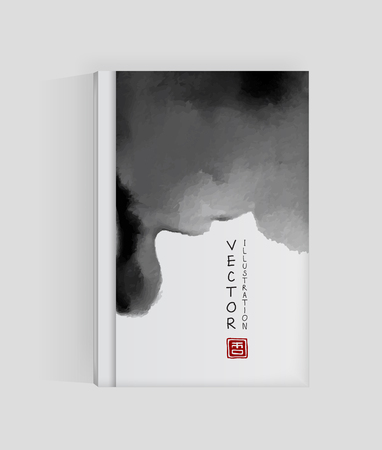 Banner, poster, brochure with abstract black ink wash painting in East Asian style. Sumi-e traditional Japanese ink painting. Vector illustration.