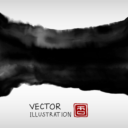 smudge: Abstract ink background. Japanese style. Black, white ink in water. Vector illustration.