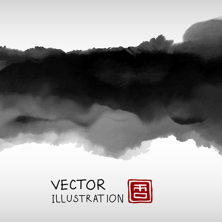 Abstract ink background. Japanese style. Black, white ink in water. Vector illustration.