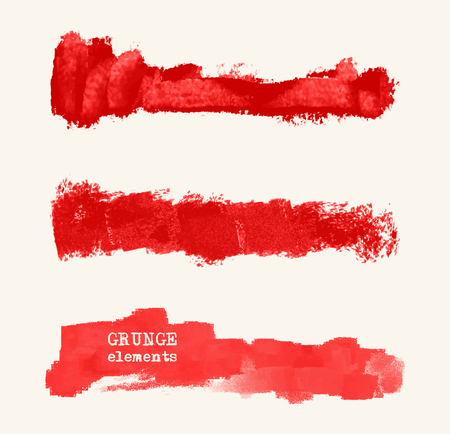 Vector set of red brush strokes. Grunge isolated elements. Grunge brushes for your design. Freehand. Watercolor splash. Acrylic stamp. Vector illustration