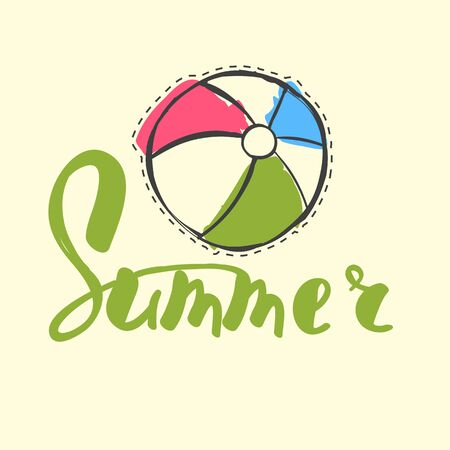 letters with beach ball on cream background, summer vector illustration