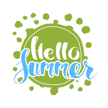 Hello Summer on color circle. Isolated Typographic Design Label. Season Holidays lettering for logo,Templates, invitation, greeting card, prints and posters. Enjoy The Beach party