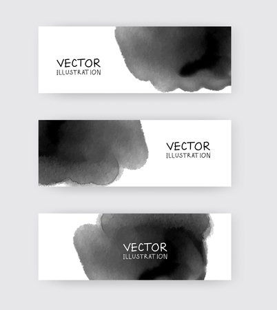 Black white banners set with abstract black ink wash painting in East Asian style. Traditional Japanese ink painting sumi-e. Abstract vector illustration.