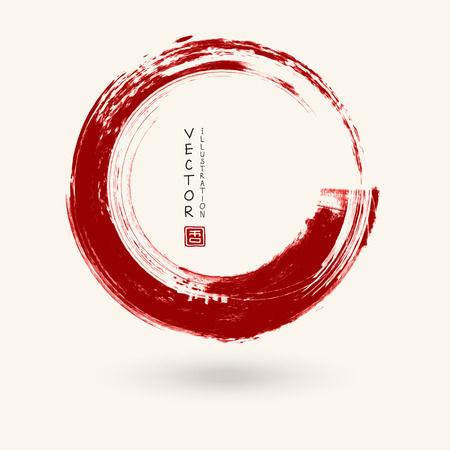 Red ink round stroke on white background. Japanese style. Vector illustration of grunge circle stains