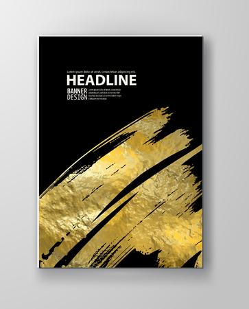 Vector zwart en goud ontwerpsjablonen voor Brochures, Flyers, mobiele technologieën, toepassingen, Online Services, typografische emblemen, Logo, banners en Infographic. Gouden abstracte moderne achtergrond.