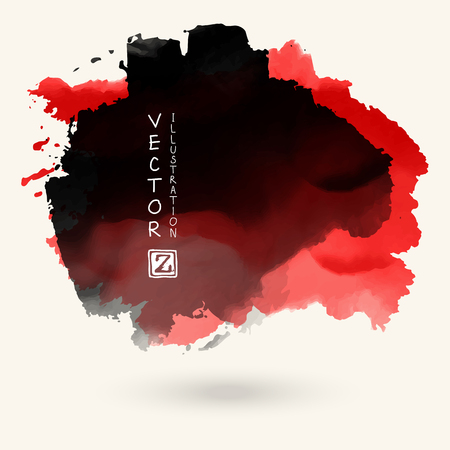 Vector black red color brush strokes. Watercolor monochrome Grunge isolated elements. Smoke brushes for your design. Freehand. Ink splash. Acrylic stamp. Vector illustration Illustration