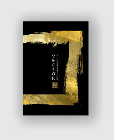Vector zwart en goud ontwerpsjablonen voor brochures, flyers, mobiele technologieën, applicaties, online services, typografische emblemen, banners en infographic. Gouden abstracte moderne achtergrond.