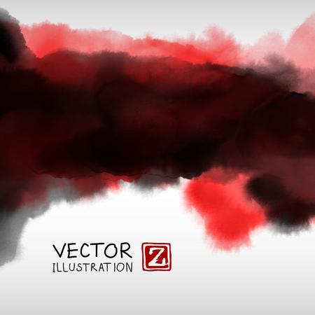 Fond d'encre abstraite. Style japonais. Encre noire rouge blanche dans l'eau. Illustration vectorielle