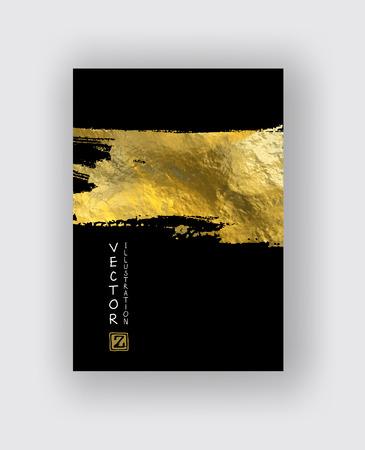 Vector zwart en goud ontwerpsjablonen voor Brochures, Flyers, mobiele technologieën, toepassingen, Online Services, typografische emblemen, Logo, banners en Infographic. Gouden abstracte moderne achtergrond. Logo