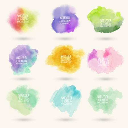 Kleuren aquarel verf vlekken vector achtergronden instellen
