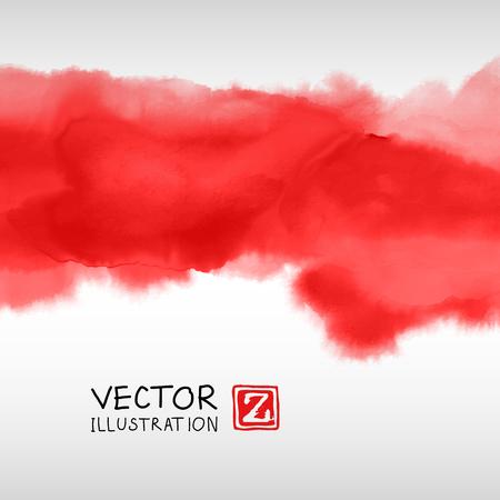 Fond d'encre abstraite. Style japonais. Rouge, sang, encre blanche dans l'eau. Illustration vectorielle