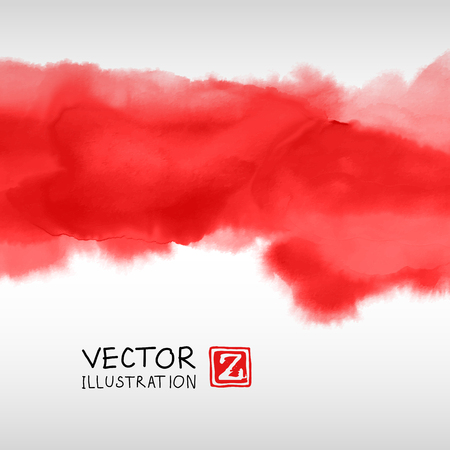 Abstract ink background. Japanese style. Red, blood, white ink in water. Vector illustration.