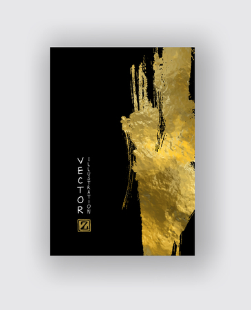 Vector Black and Gold Design Templates for Brochures, Flyers, Mobile Technologies, Applications, Online Services, Typographic Emblems, Banners and Infographic. Golden Abstract Modern Background.