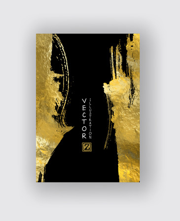 Vector negro y plantillas de diseño de oro para folletos, folletos, tecnologías móviles, aplicaciones, servicios en línea, emblemas tipográficos, logotipo, banners e infografía. Fondo moderno abstracto de oro.