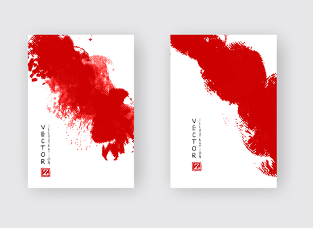 Red ink brush stroke on white background. Japanese style. Vector illustration of grunge strip stains