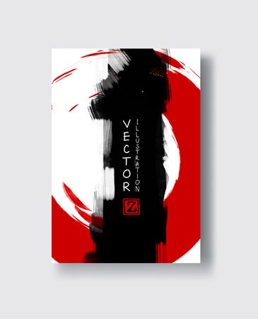 Red and black abstract background with ink splats. Japanese style composition. Aggressive futuristic dynamic background for wallpaper, interior, flyer cover, poster, banner, booklet. Illustration