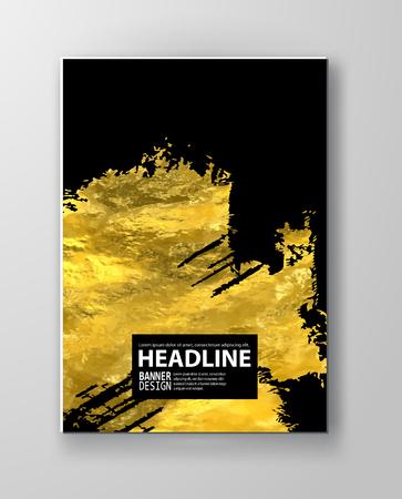 Modèles de conception de vecteur noir et or pour brochures, dépliants, technologies mobiles, applications, services en ligne, emblèmes typographiques, logo, bannières et infographie. Or abstrait moderne.