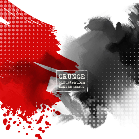 Red and black abstract background with ink splats. Japanese style composition. Aggressive futuristic dynamic background for wallpaper, interior, flyer cover, poster, banner, booklet.  イラスト・ベクター素材
