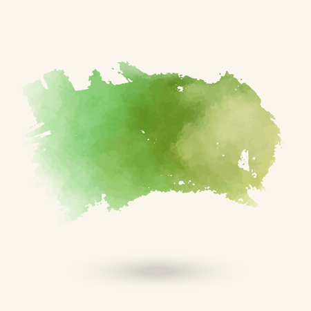 Vector green brush strokes. Watercolor Grunge isolated elements. Smoke brushes for your design. Freehand. Ink splash. Acrylic stamp. Vector illustration