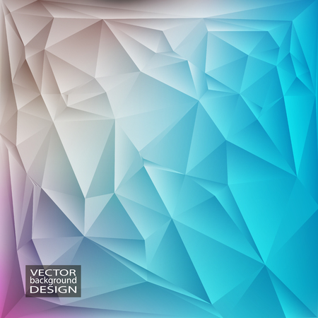 Blue geometric background with triangles. Blurred gradient mosaic pattern. Vector illustration.