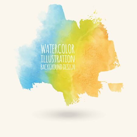 Vector blue yellow brush strokes. Watercolor Grunge isolated elements. Smoke brushes for your design.