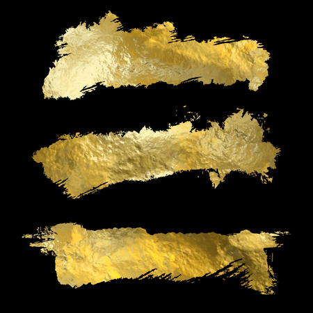 Collection of golden paint strokes on black. Make a background for your design, golden hot foil, gold leaf